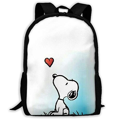 Mei-shop Casual Backpack Lovely Sn-oopy Print Zipper School Bag Travel Daypack Backpack-CQI