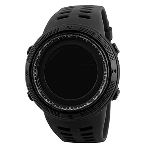 Berrywho Reloj Mens al Aire Libre Deportes Negro Digital Digital Cuenta atrás Fácil Leer con Brazalete de Cuero Cronómetro Impermeable
