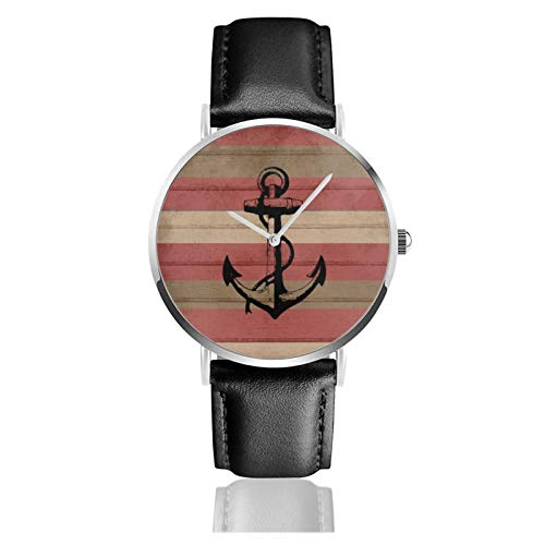 Rústico rojo y marrón rayas náuticas y ancla reloj de cuarzo movimiento impermeable correa de reloj de cuero para hombres mujeres simple reloj casual de negocios
