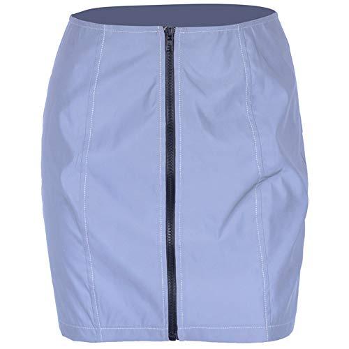 QZBTU Lady Rok Vrouwen Rokken Reflecterende Grijs Hoge Taille Mini Rok Kleding Rok Vrouwelijke Rok