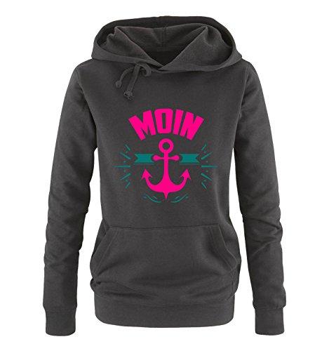 Comedy Shirts - Moin - Anker - Damen Hoodie - Schwarz/Pink-Türkis Gr. L