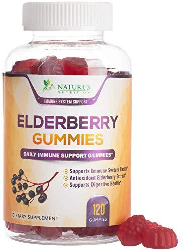 Elderberry Gummies Extra Strength Sambucus Black Elderberry Extract Gummy - Natural Immune Support Supplement with Zinc and C for Children & Adults - 120 Gummies