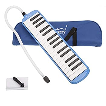Glarry 32 key Melodica Musical Instrument Piano Style Gift for Music Lovers Beginner with Two mouthpieces and Carrying Bag  Blue