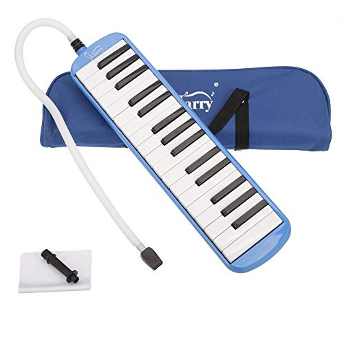 Glarry 32 key Melodica Musical Instrument Piano Style Gift for Music Lovers Beginner with Two mouthpieces and Carrying Bag (Blue)