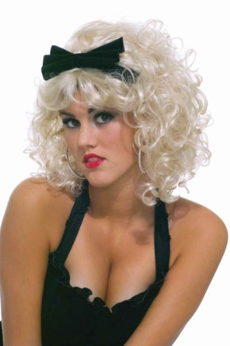 Pop Star 80's Wig with Bow-Yellow / One Size