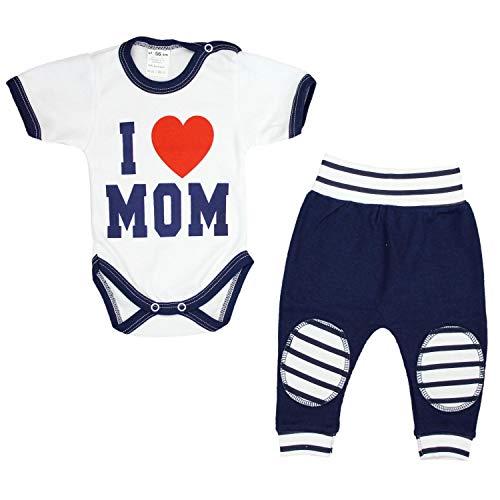TupTam Unisex Baby Bekleidung mit Spruch 2er Set, Farbe: I Love Mom Dunkelblau, Größe: 62