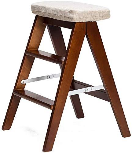 IAIZI Trapladder/ladder/klapstoel met 3 treden, houten trap geavanceerde grijze spons zitting hoge kruk thuis tuingereedschap hoogte 65 cm Heavy Duty max. 120 kg
