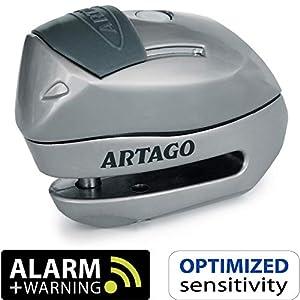 Artago 24S.6M Candado antirrobo Moto Disco Alarma 120 db Warning Inteligente, ø 6 mm, metálico, Multicolor