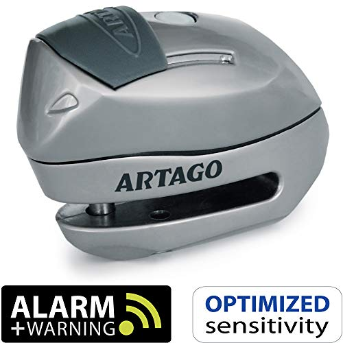 Artago 24S.6M Candado antirrobo Moto Disco Alarma 120 db + Warning, 6 mm