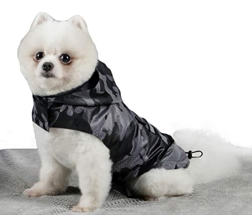 Babydog Abrigo Chaleco Impermeable para Perro con Capucha, Forro Transpirable y Sin Mangas, Cierre Velcro, Bolsillo Espalda, Modelo Camuflaje Militar (M, Negro)