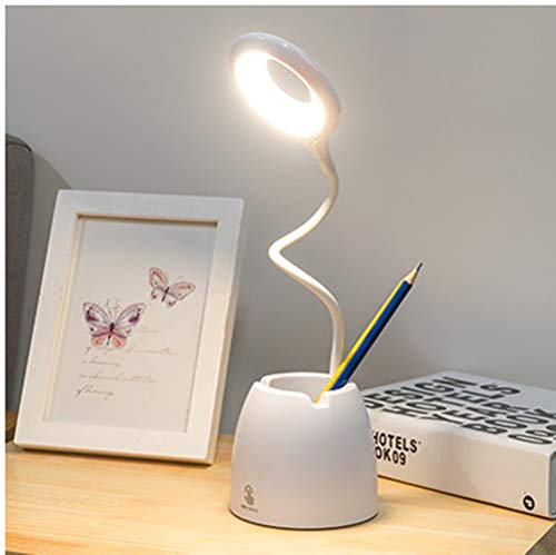 Gift for Lover LED USB Rechargeable Touch Control Dimming Eye Protection Learning Children?s Computer Light Soft Gooseneck Support The Use of Mobile Phones and Pen Holders (C)