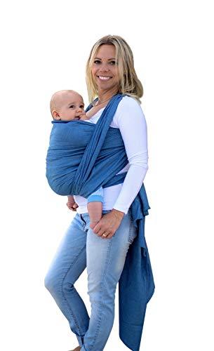 AMAZONAS Babytragetuch Carry Sling Denim - TESTSIEGER bei Stiftung Warentest mit Bestnote 1,7-450 cm 0-3 Jahre bis 15 kg in Blau