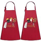 JSDing Grembiule da Cucina 2 Pezzi Grembiule Impermeabile con Tasche di BBQ Bar Chef Risto...