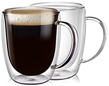 PunPun Clear Coffee Mugs Set of 2 Glass for Coffee Double Wall Insulated Glass Mugs with Big Handle Clear Mugs Each 12.9 Ounces,380ml Perfect for Americano Latte Cappuccinos and Beverage.
