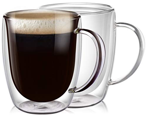PunPun Clear Coffee Mugs Set of 2, Glass for Coffee, Double Wall Insulated Glass Mugs with Big Handle, Clear Mugs Each 12.9 Ounces, 380ml, Perfect for Americano, Latte, Cappuccinos and Beverage.