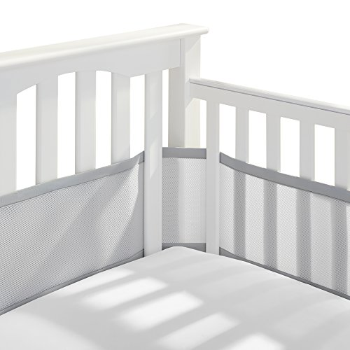 BreathableBaby Classic Patented, Safer for Baby, Anti-Bumper, Non-Padded, Breathable Mesh Crib Liner - Gray