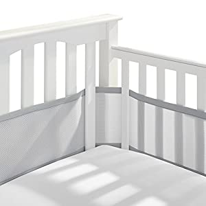 BreathableBaby Classic Patented, Safer for Baby, Anti-Bumper, Non-Padded, Breathable Mesh Crib Liner – Gray