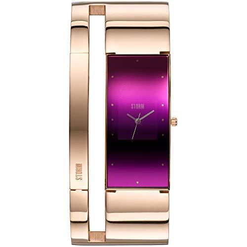 STORM Alvara Rosegold Purple, Damenuhr, Analoguhr, 3 bar Wasserdicht, Edelstahlgehäuse, Mineralglas, 47343/P