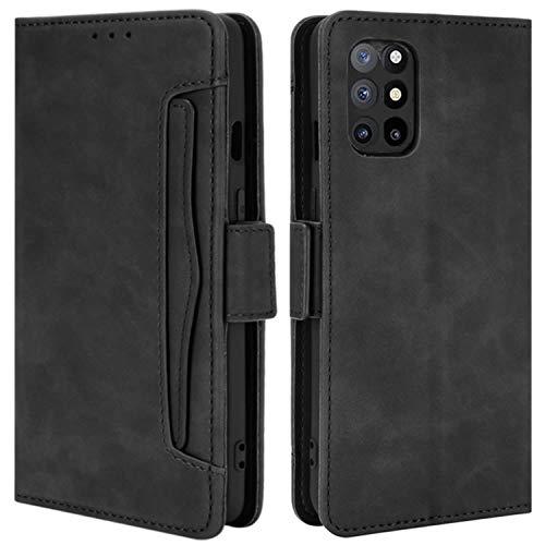 HualuBro Handyhülle für OnePlus 8T Hülle Leder, Flip Hülle Cover Stoßfest Klapphülle Handytasche Schutzhülle für OnePlus 8T Tasche (Schwarz)