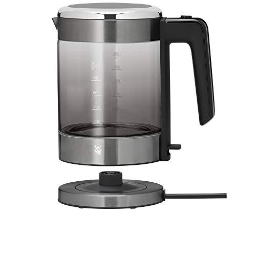 WMF Küchenminis Glas-Wasserkocher (1900 Watt, 1,0 l, kabellos, Wasserstandanzeige, Kalk-Wasserfilter, Kochstoppautomatik) graphit