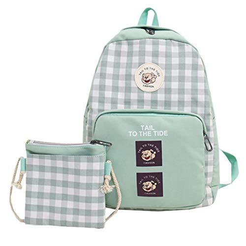 Leedy, set di 2 accessori alla moda per la scuola, zaino per il tempo libero, per ragazze, ragazzi, donne, casual, rete, plaid, zaino (verde)