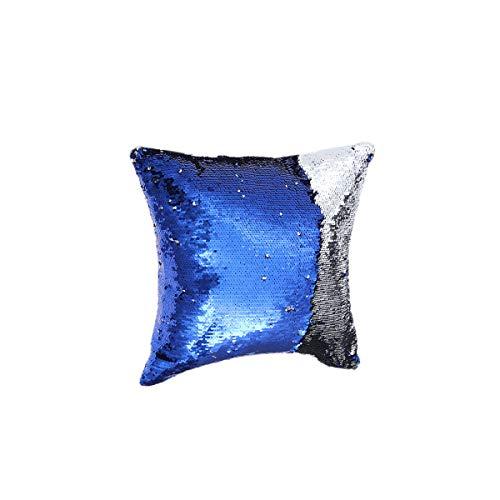 VOSAREA Fodere per Cuscini Cuscino Fai da Te Lucido Paillettes Cuscino Quadrato Federa Cuscino per Divano Auto 40x40 cm (Blu Royal + Argento)