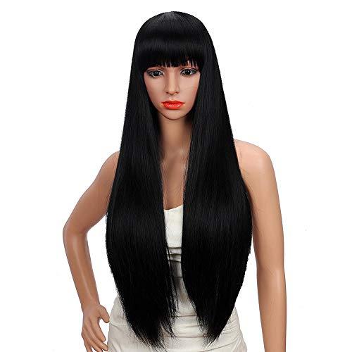 HAIRCARE Chaleur-Perruque Noire Molle Résistante,léger Noir Long Hairpiece-a
