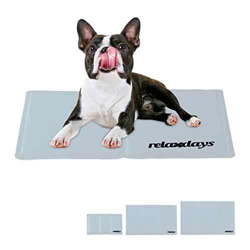 Relaxdays Kühlmatte Hund, selbstkühlend, abwischbar, robust, mit Gel, Kühldecke für Tiere, Kältedecke 40 x 50 cm, grau, Polyester