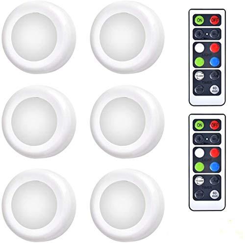 Luces LED de Armario Queta Luces de noche LED,6PCS Luz de armario inalámbrico con control remoto 2 Para Armarios, Armarios, Cocina, Dormitorio, Pasillos, Escaleras