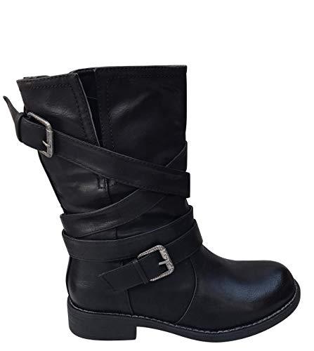 Damen Stiefel Weitschaft Boots Stiefeletten Biker ST050 (Schwarz, 36)