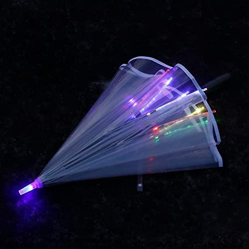 Joyibay Klarer Regenschirm Mode LED Stockschirm Regen Regenschirm Transparenter Regenschirm