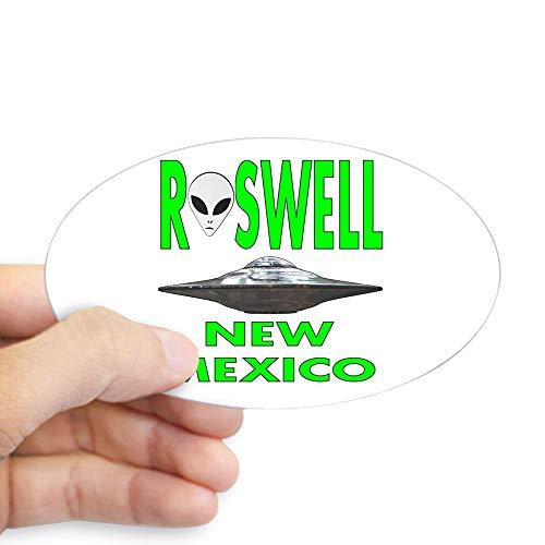 CafePress Roswell New Mexico\' Ovaler Aufkleber Stoßstangenaufkleber, weiß, Large - 4.5x7.5