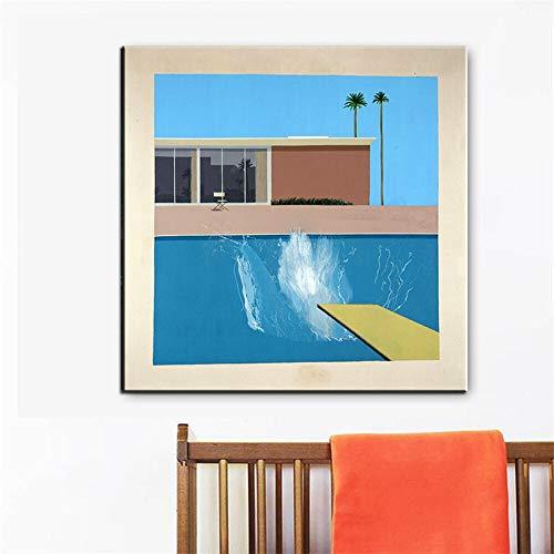 WIOIW David Hockney EIN größerer Splash Pool Künstler Benutzerdefinierte Kunstwerke Leinwand Malerei Druck Poster Wandkunst Bild Wohnzimmer Schlafzimmer Büro Home Decoration