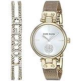Anne Klein Women's Swarovski Crystal Accented Gold-Tone Mesh Watch and Bracelet Set, AK/3552GBST