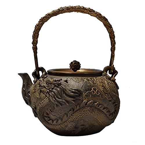 Tetera japonesa de hierro fundido de 1,3 l, tetera de dragón y fénix, hervidor de té japonés, apto para estufas, tetera, hervidor de ebullición para adultos y amigos de la familia