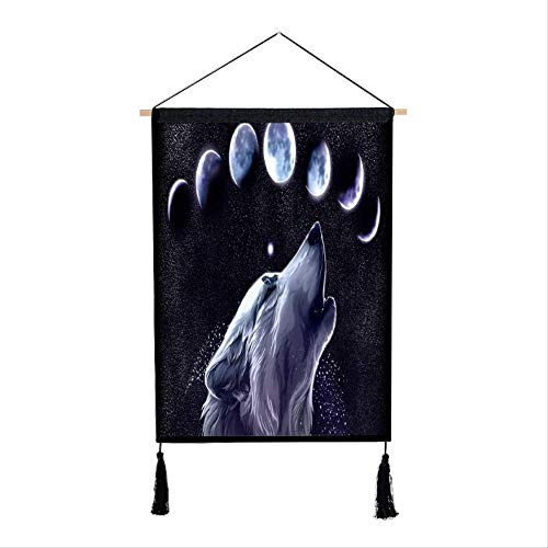 Ophangende dier weerwolf maan opknoping doek Xuan Guan decoratieve achtergrond muur opknoping papua hennep stof opknoping schilderij 65 * 45cm