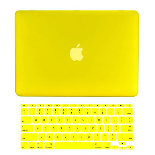 """TOP CASE - 2 in 1 Signature Bundle Rubberized Hard Case and Keyboard Cover Compatible MacBook Air 11"""" (A1370 and A1465) - Yellow"""
