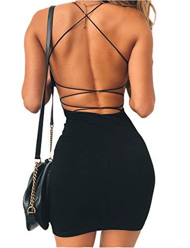 just quella Women Sexy Bodycon Party Dresses Backless Spaghetti Straps Clubwear Mini Dress (L, Black)