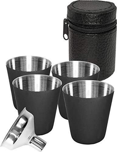 Outdoor Saxx® - 6-teiliges Edelstahl-Becher, Trink-Becher Set, 4 Schnaps-Becher Schnaps-Gläser aus Metall, Metall-Becher mit Leder-Tasche, Einfüll-Trichter, ideales Flachmann-Zubehör, schwarz