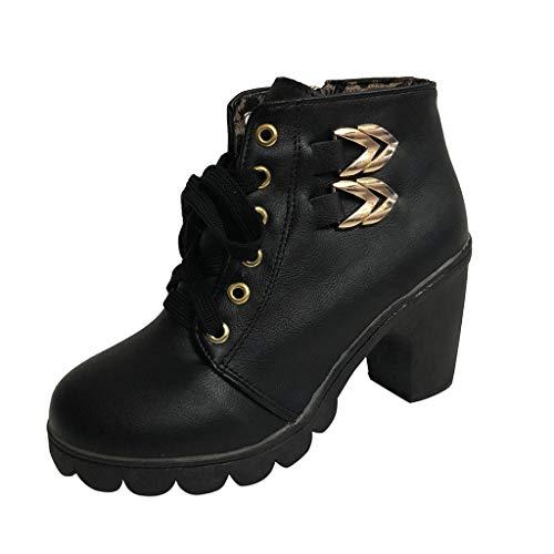 Botines De Altos Tacón Mujer Botas Cuadradas con Tiras Retro Zapatos de Punta Redonda Cuero Botines Mujer Tacon Plataforma Zapatos 35-41 riou (Ropa)