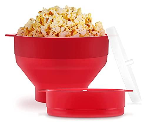 Mikrovågsugn Popcorn maker, hopfällbar silikon mikrovågsugn varmluft popcorn skål med lock och handtag, underbar gåva för hem, fest, titta på film