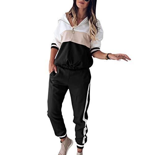 Yying Set Donna Completo Sportivo Felpe con Cappuccio Donna Crop Top Felpa Pantaloni a Righe Laterali Set da 2pezzi Abbigliamento Donna