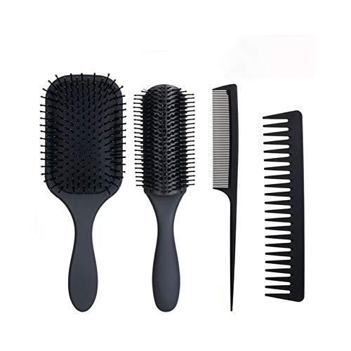 Yagosodee Peine de peinado de pelo 4 unids cepillo de pelo peine conjunto desenredante cepillo para hombres y mujeres largo grueso pelo rizado