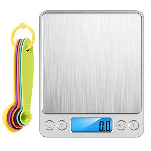 WRISTCHIE - Bilancia digitale da cucina per alimenti da cucina, 5 kg, 1 g, con display LCD retroilluminato