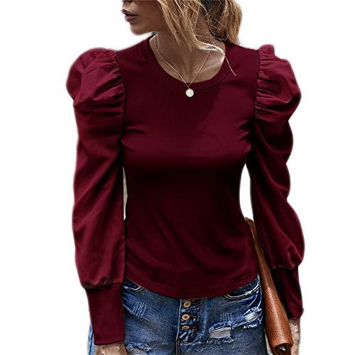 Damen Herbst und Winter Langärmlige Retro Puffärmel T-Shirt Bluse