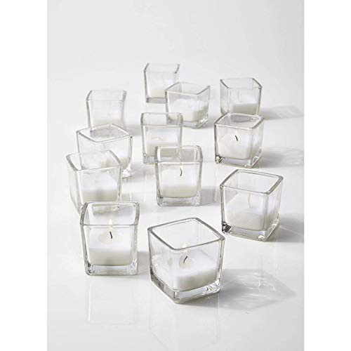 """Serene Spaces Living 10-Hour White Unscented Cube Votive Candles in Set of 12– Classic Clear Glass Design in 2"""" Cubes"""