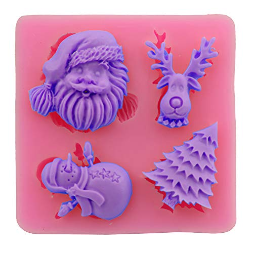 Demarkt Molde Gel de Silicona Santa Claus Baking Mat Moldes Para Caramelo y Osos Gominola 7.3 * 7.3 * 1.2CM 1PCS
