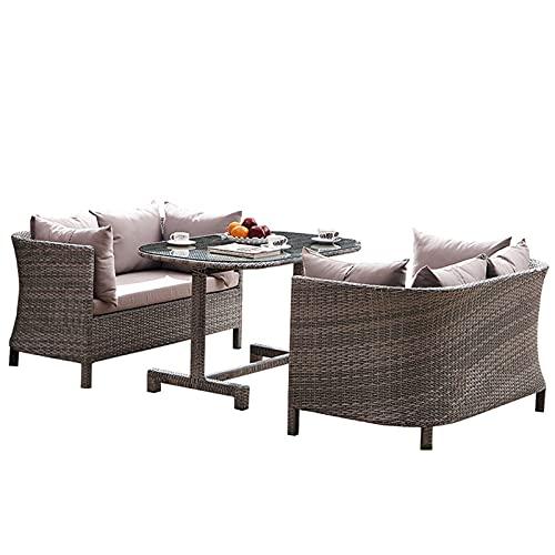 NHP Set di divani in Rattan per Cortile Esterno con Balcone, Set di Tre Pezzi per Divano per Il Tempo Libero Simile a Rattan