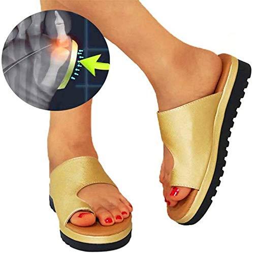 Vrouwen comfortabele dikke zolen sandalen orthopedische schoenen PU leer platte bodem grote teen voet orthopedische sandalen orthopedische hallux teen orthese (37, Goud)