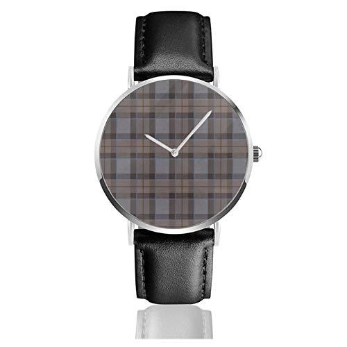 Reloj de cuero Outlander Fraser Tartan Plaid Unisex Clásico Casual Moda Reloj de Cuarzo Reloj de Acero Inoxidable con Correa de Cuero